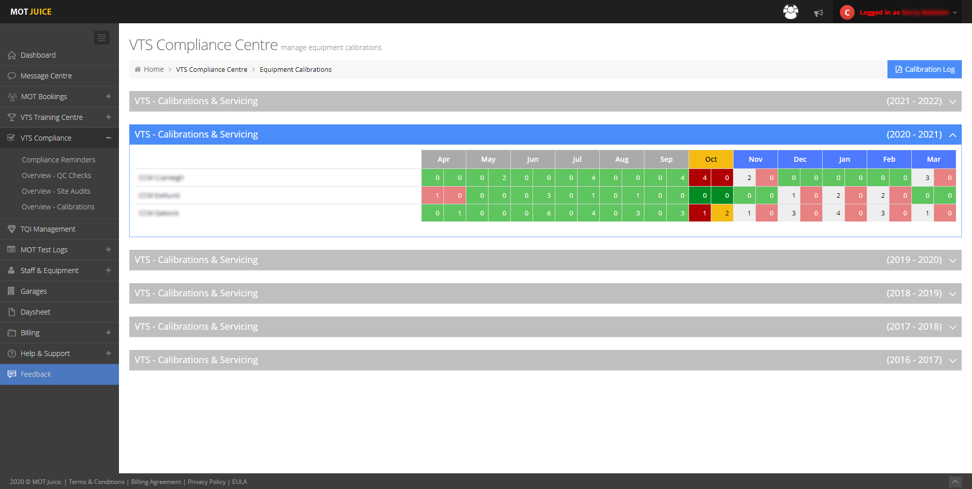 your mot juice account will show calibrations due in a calendar style view