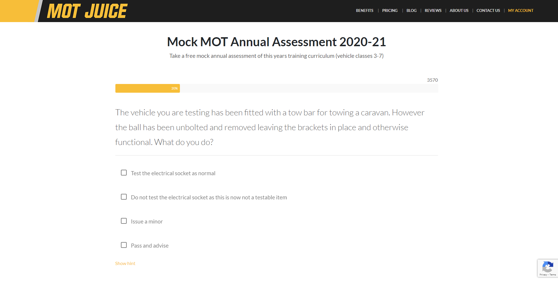mot juice provides a free mock exam to practice as many times before your mot assessment