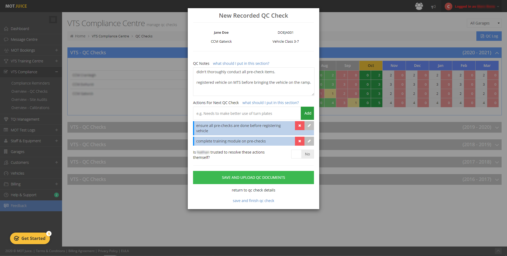 add notes and actions to be rectified for the next qc check