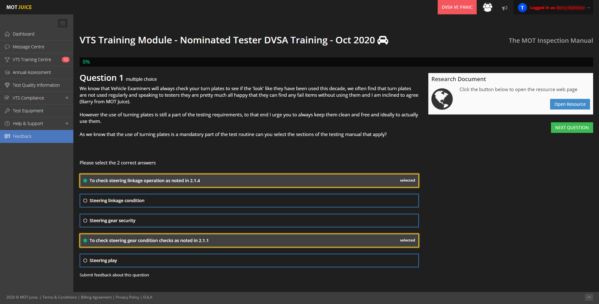 taking one of the monthly dvsa tester training modules with mot juice