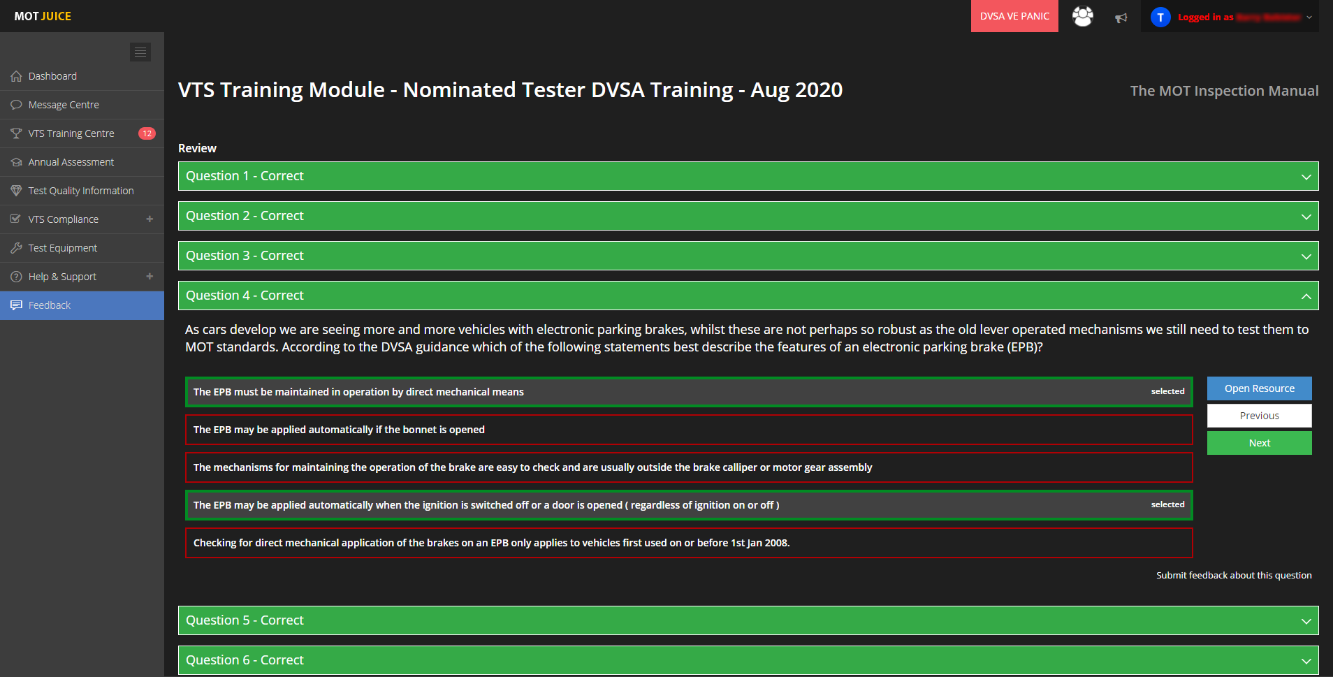 review and revise training modules completed with mot juice