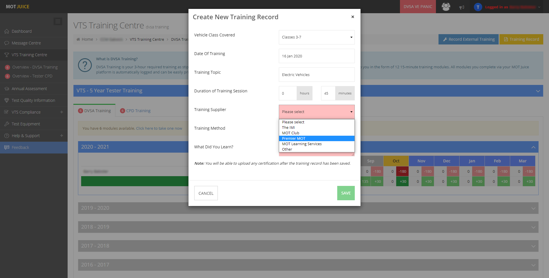 record all your historic training history in your mot juice account