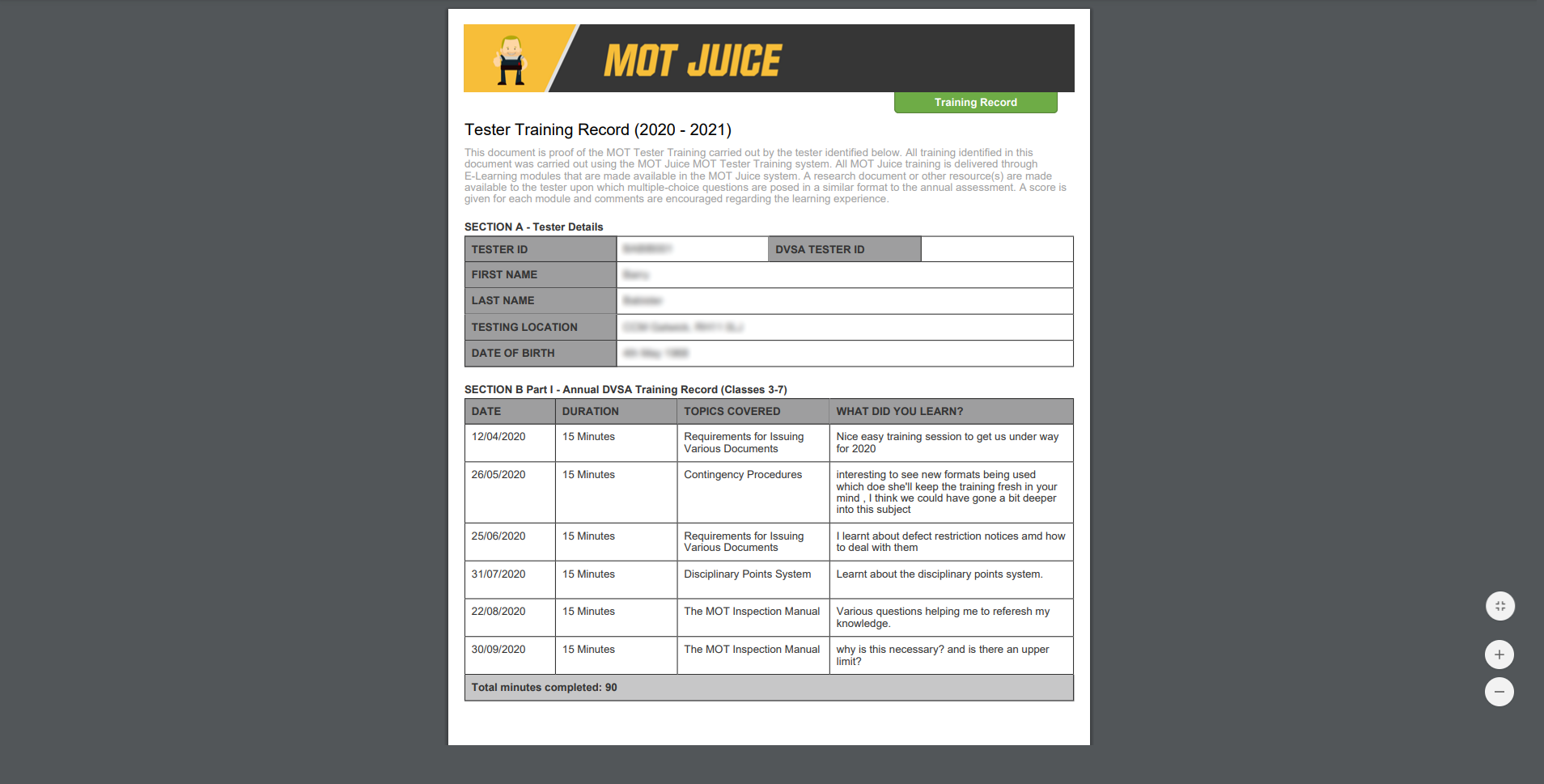 mot juice automatically compiles a downloadable training record easily printable for vehicle examiner records
