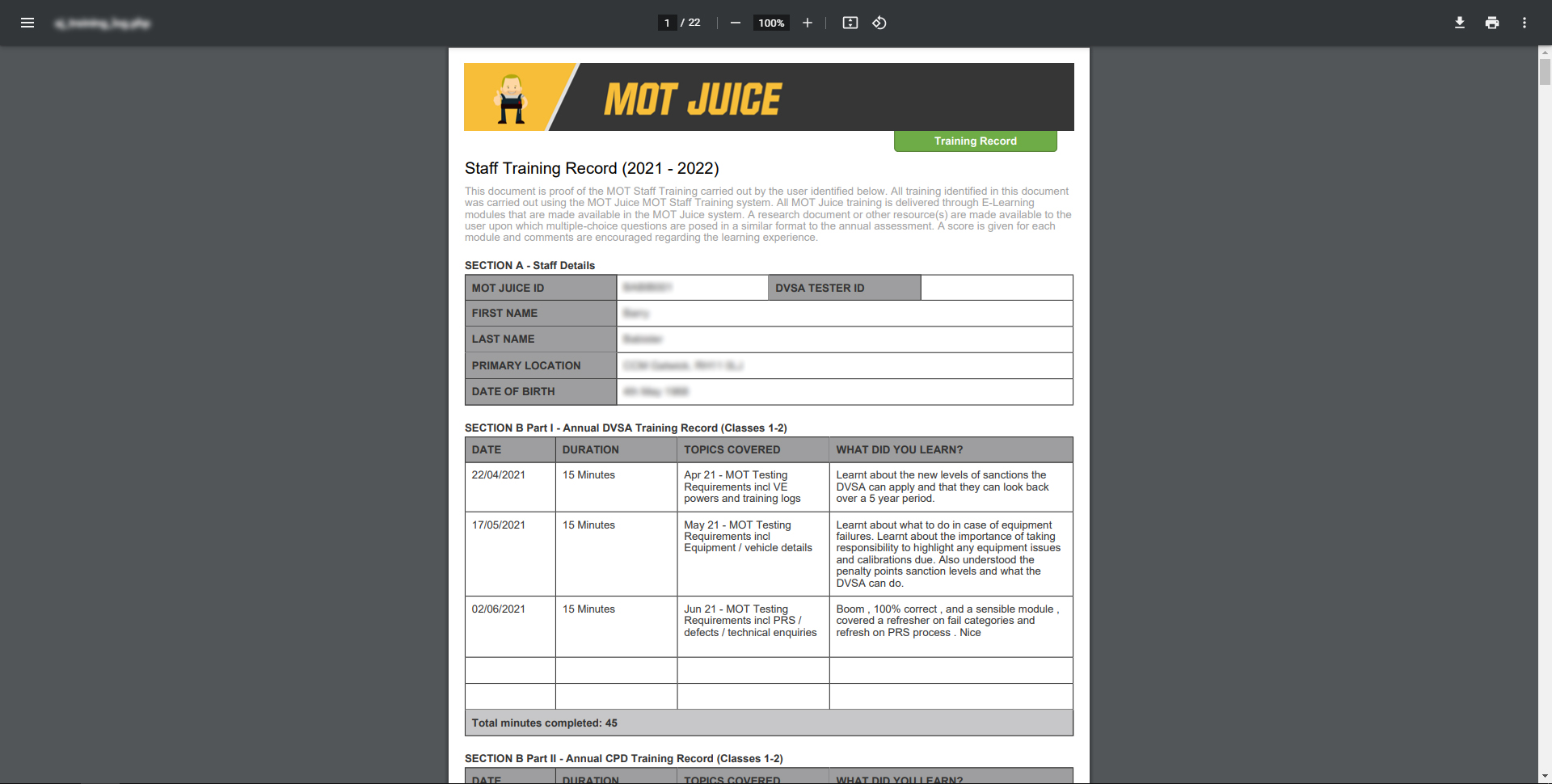 training reports are automatically created and can be printed easily