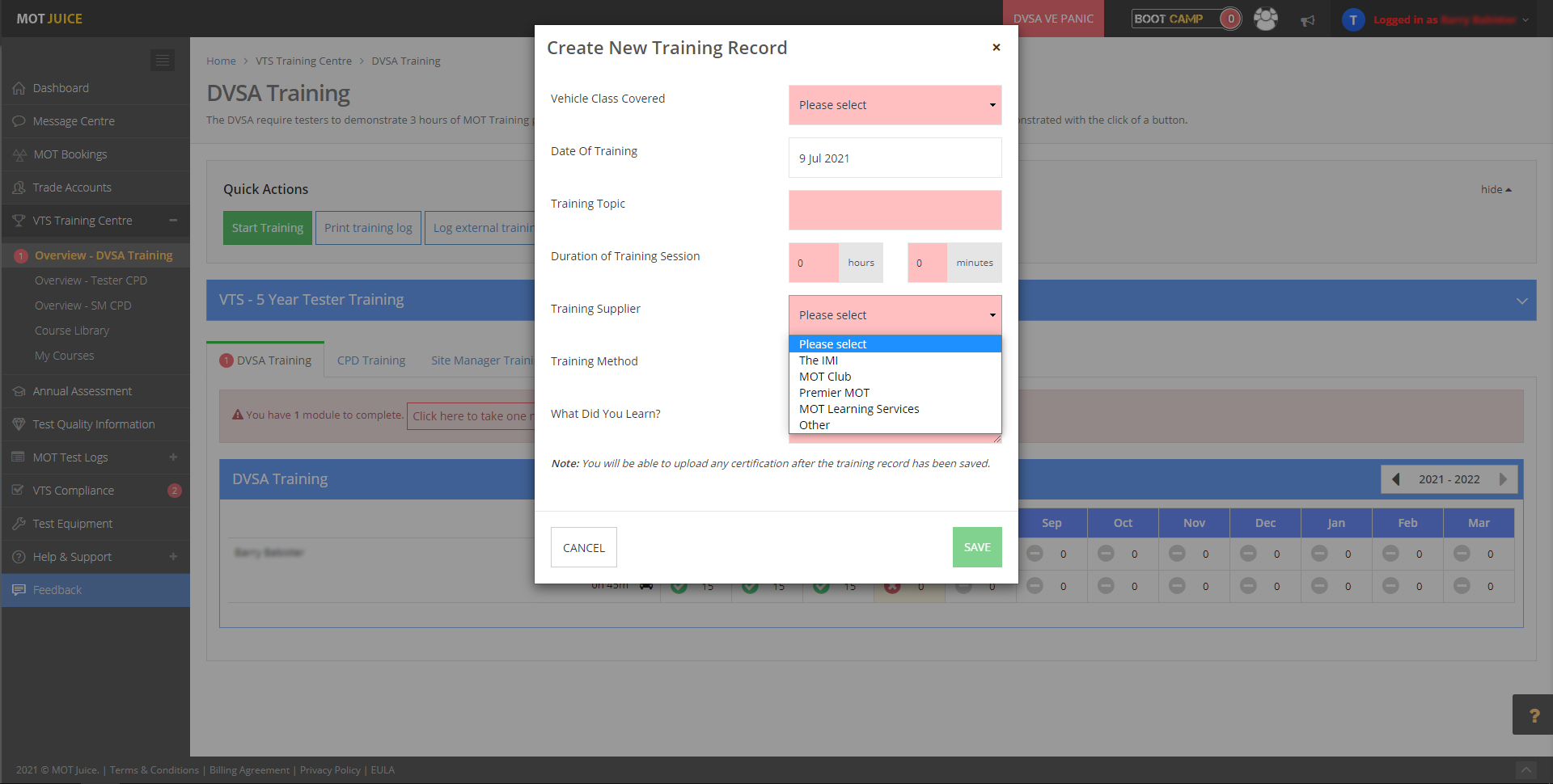 create a record of a training session